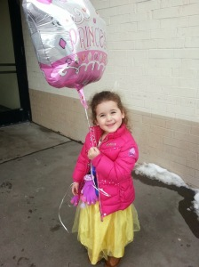 Snow White with her 'Princess' balloon