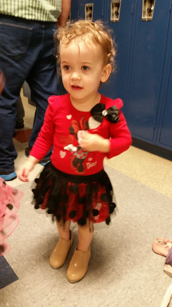 Ary trying to steal her sissy's shoes before the show.