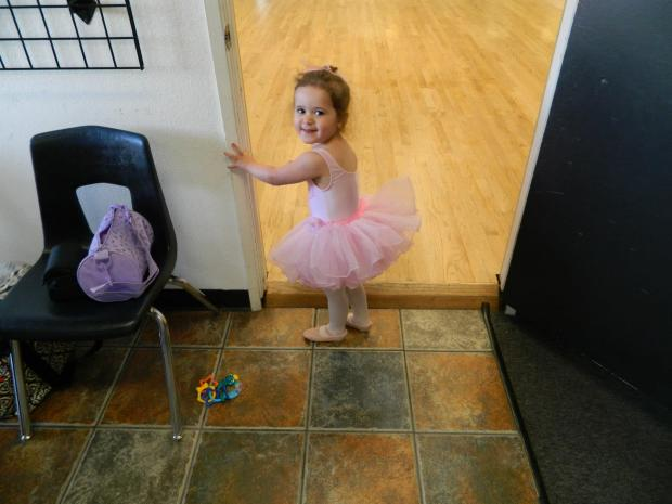 In her princess tutu that she worked so hard for