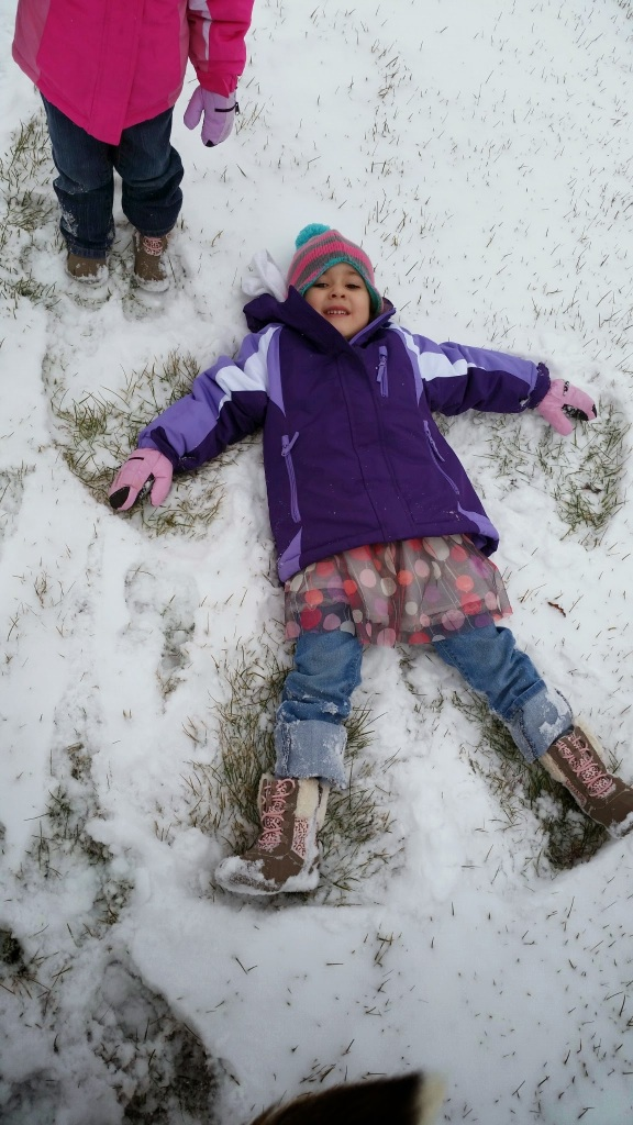 Eowyn, attempting to make a snow angel in our pathetic accumulation of snow